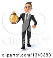 Clipart Of A 3d Young White Businessman Holding An Amber Tincture Medicine Drop And Walking Royalty Free Illustration