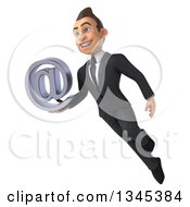 Clipart Of A 3d Young White Businessman Holding An Email Arobase At Symbol And Flying Royalty Free Illustration