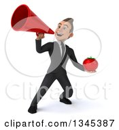 Clipart Of A 3d Young White Businessman Holding A Tomato And Announcing With A Megaphone Royalty Free Illustration