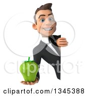 Clipart Of A 3d Young White Businessman Holding A Green Bell Pepper Around A Sign Royalty Free Illustration