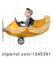 Clipart Of A 3d Young White Businessman Aviator Pilot Flying A Yellow Airplane To The Left Royalty Free Illustration