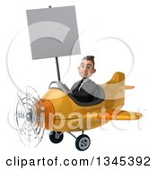 Clipart Of A 3d Unhappy Young White Businessman Aviator Pilot Holding A Blank Sign And Flying A Yellow Airplane Slightly To The Left Royalty Free Illustration