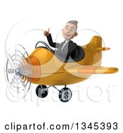 Clipart Of A 3d Young White Businessman Aviator Pilot Giving A Thumb Up And Flying A Yellow Airplane Slightly To The Left Royalty Free Illustration