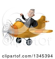 Clipart Of A 3d Young White Businessman Aviator Pilot Giving A Thumb Down And Flying A Yellow Airplane Slightly To The Left Royalty Free Illustration