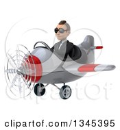 Clipart Of A 3d Young White Businessman Aviator Pilot Wearing Sunglasses And Flying A White And Red Airplane Slightly To The Left Royalty Free Illustration