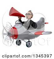 Clipart Of A 3d Young White Businessman Aviator Pilot Wearing Sunglasses Announcing With A Megaphone And Flying A White And Red Airplane Slightly To The Left Royalty Free Illustration