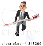 Clipart Of A 3d Young White Businessman Sprinting With A Giant Toothbrush Royalty Free Illustration by Julos