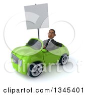 Clipart Of A 3d Young Black Businessman Holding A Blank Sign And Driving A Green Convertible Car Slightly To The Left Royalty Free Illustration