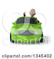 Clipart Of A 3d Young Black Businessman Giving A Thumb Up And Driving A Green Convertible Car Royalty Free Illustration