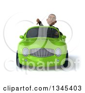 Clipart Of A 3d Young Black Businessman Giving A Thumb Down And Driving A Green Convertible Car Royalty Free Illustration