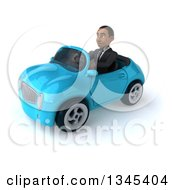 Clipart Of A 3d Young Black Businessman Driving A Blue Convertible Car Slightly To The Left Royalty Free Illustration