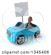 Clipart Of A 3d Young Black Businessman Holding A Blank Sign And Driving A Blue Convertible Car Slightly To The Left Royalty Free Illustration