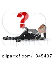 Clipart Of A 3d Young Black Businessman Holding A Question Mark And Resting On His Side Royalty Free Illustration