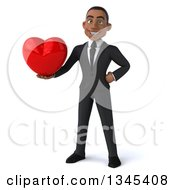 Clipart Of A 3d Young Black Businessman Holding A Red Love Heart Royalty Free Illustration