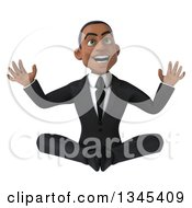 Clipart Of A 3d Excited Young Black Businessman Sitting On The Floor Royalty Free Illustration