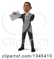 Clipart Of A 3d Young Black Businessman Thinking And Holding An Envelope Royalty Free Illustration