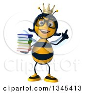 Clipart Of A 3d Happy Bespectacled Queen Bee Holding Up A Finger And A Stack Of Books Royalty Free Illustration