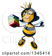 Clipart Of A 3d Happy Bespectacled Queen Bee Jumping And Holding A Stack Of Books Royalty Free Illustration