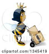 Clipart Of A 3d Happy Queen Bee Walking To The Right Moving Boxes On A Dolly Royalty Free Illustration by Julos