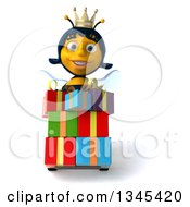 Clipart Of A 3d Happy Queen Bee Moving Gifts On A Dolly Royalty Free Illustration by Julos