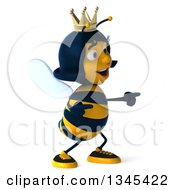 Clipart Of A 3d Happy Queen Bee Pointing To The Right Royalty Free Illustration by Julos