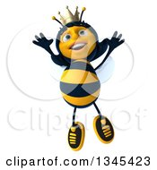 Clipart Of A 3d Happy Queen Bee Jumping Royalty Free Illustration by Julos
