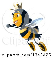 Clipart Of A 3d Happy Queen Bee Flying To The Left Royalty Free Illustration by Julos