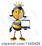 Clipart Of A 3d Happy Queen Bee Holding A Laptop Computer Royalty Free Illustration