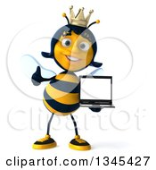 Clipart Of A 3d Happy Queen Bee Giving A Thumb Up And Holding A Laptop Computer Royalty Free Illustration by Julos