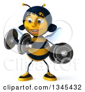 Clipart Of A 3d Happy Female Bee Working Out Doing Bicep Curls With Dumbbells Royalty Free Illustration