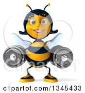 Clipart Of A 3d Happy Female Bee Working Out With Dumbbells Royalty Free Illustration