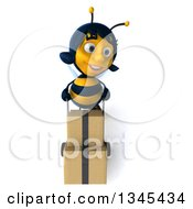 Clipart Of A 3d Happy Female Bee Moving Boxes On A Dolly Royalty Free Illustration