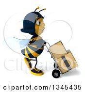 Clipart Of A 3d Happy Female Bee Walking To The Right Moving Boxes On A Dolly Royalty Free Illustration