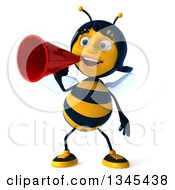 Clipart Of A 3d Happy Female Bee Announcing With A Megaphone Royalty Free Illustration
