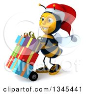Clipart Of A 3d Happy Male Bee Walking To The Left Moving Christmas Gifts On The Dolly Royalty Free Illustration