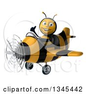 3d Happy Male Aviator Pilot Bee Giving A Thumb Up And Flying A Yellow And Black Striped Airplane Slightly To The Left
