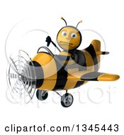 Clipart Of A 3d Unhappy Male Aviator Pilot Bee Giving A Thumb Down And Flying A Yellow And Black Striped Airplane Slightly To The Left Royalty Free Illustration