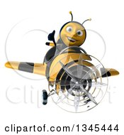 3d Happy Male Aviator Pilot Bee Giving A Thumb Up And Flying A Yellow And Black Striped Airplane
