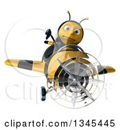 3d Unhappy Male Aviator Pilot Bee Giving A Thumb Down And Flying A Yellow And Black Striped Airplane