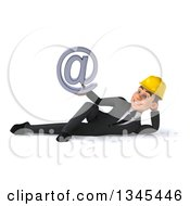 Clipart Of A 3d Young White Male Architect Resting On His Side And Holding An Email Arobase At Symbol Royalty Free Illustration