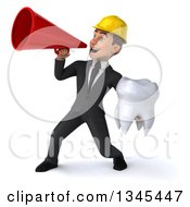 Clipart Of A 3d Young White Male Architect Holding A Tooth And Announcing With A Megaphone Royalty Free Illustration