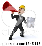 Clipart Of A 3d Young White Male Architect Holding A Tooth And Announcing With A Megaphone 2 Royalty Free Illustration