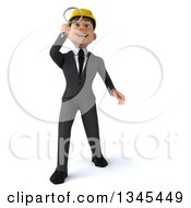 Clipart Of A 3d Young White Male Architect Leaning Back Looking Up And Searching With A Magnifying Glass Royalty Free Illustration