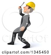 Clipart Of A 3d Young White Male Architect Facing Left Leaning Back Looking Up And Searching With A Magnifying Glass Royalty Free Illustration