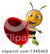 Clipart Of A 3d Happy Male Gardener Bee Announcing Upwards With A Megaphone Royalty Free Illustration