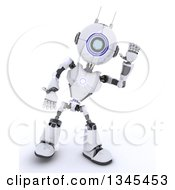 Clipart Of A 3d Futuristic Robot Listening On A Shaded White Background Royalty Free Illustration