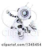 Clipart Of A 3d Futuristic Robot Reaching Upwards On A Shaded White Background Royalty Free Illustration