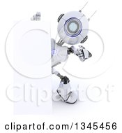 Clipart Of A 3d Futuristic Robot Pointing Around A Sign Over A White Background Royalty Free Illustration