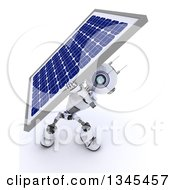 Clipart Of A 3d Futuristic Robot Carrying A Solar Panel On A Shaded White Background Royalty Free Illustration