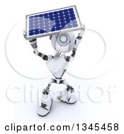 Clipart Of A 3d Futuristic Robot Carrying A Solar Panel On A Shaded White Background 2 Royalty Free Illustration
